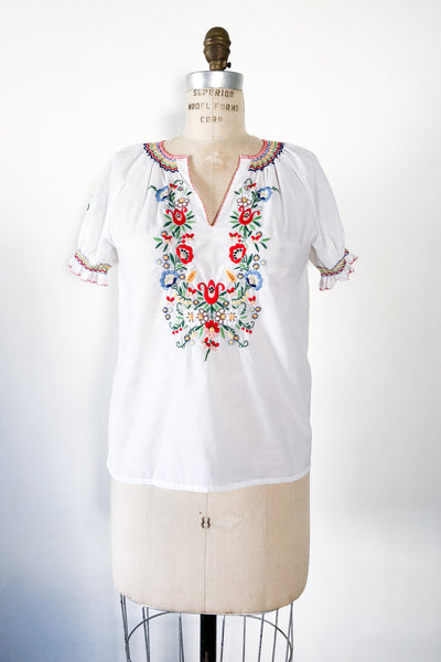 Vintage Embroidered Cotton Top - S