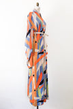 1940s Colorful Bamboo Leaves Silk Kimono - One Size
