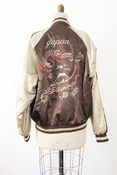 Vintage Japanese Embroidered Bomber Jacket - M