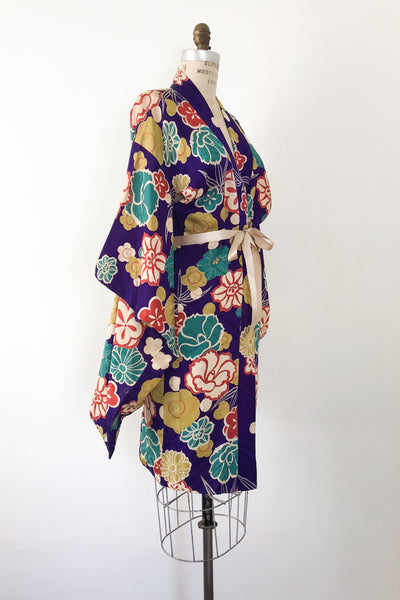 Antique Silk Floral Short Kimono - One Size