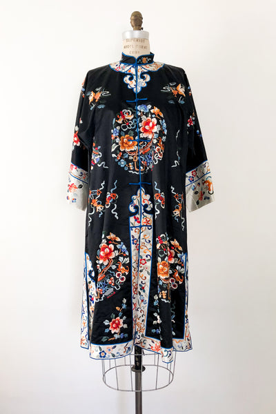 Vintage Chinese Silk Floral Embroidered Robe - M