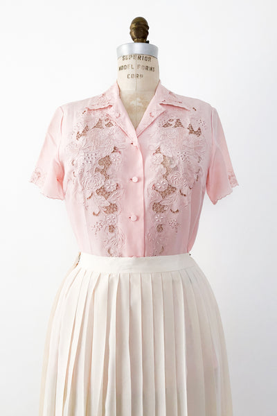 1950s Light Pink Silk Embroidered Cutout Top - S/M