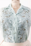 1950s Light Blue Silk Embroidered Cutout Top - S/M