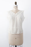 1950s Ivory Pleated Nylon Top - M/L