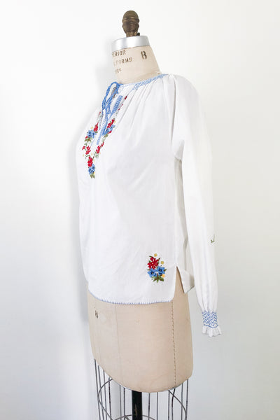 1970s Cotton Embroidered Long Sleeve Top - S