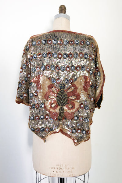 1980s Silk Sequined Butterfly Top - M/L