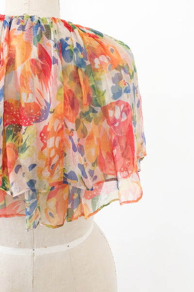 1930s Silk Chiffon Floral Capelet - One Size