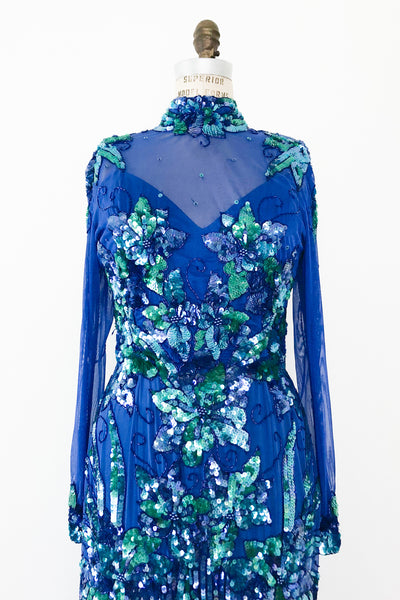 1980s Blue Beaded Gown - M/L
