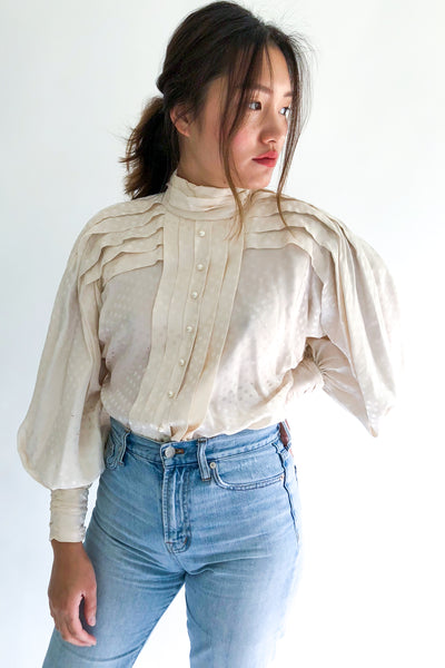 1980s Jacquard Poet Sleeve Pleated Top - S/M