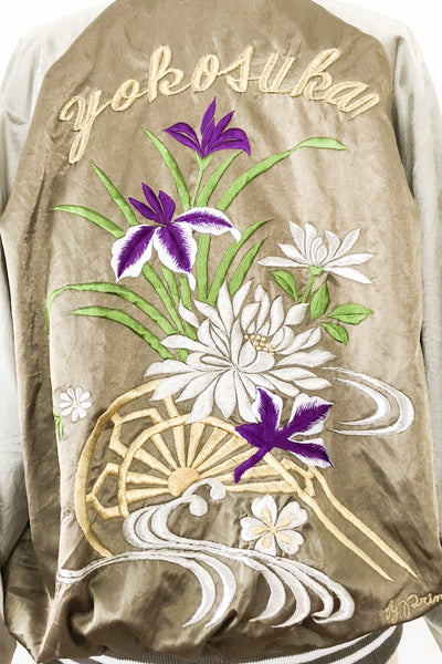 Vintage Satin Embroidered Bomber Jacket - M/L
