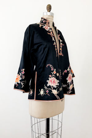 Antique Silk Jacket with Embroidered Appliques - M
