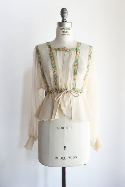 1970s Vintage Chiffon Poet Sleeve Top with Embroidery - S/M