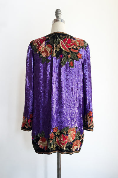 1980s Purple Silk Beaded Jacket/Duster - M