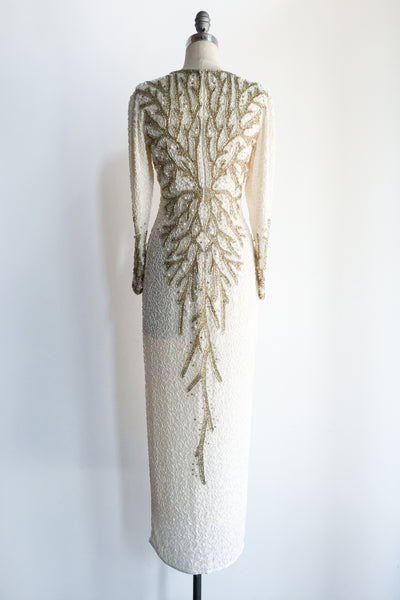 1980s Silk Crepe Beaded Gown with Coral Patterns - S/M