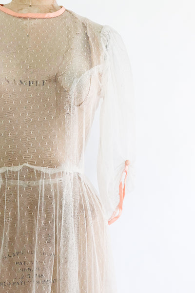 1970s Sheer Dotted Mesh Tulle Dress - M