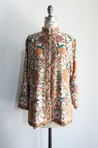 1970s Light Pink Silk Taffeta Embroidered Jacket - M