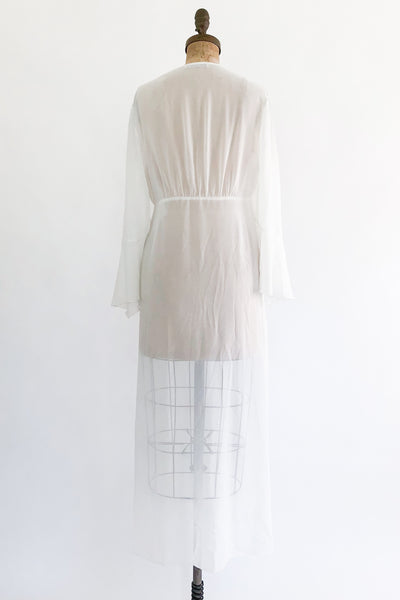 1980s White Chiffon Dressing Gown with Embroidery - M