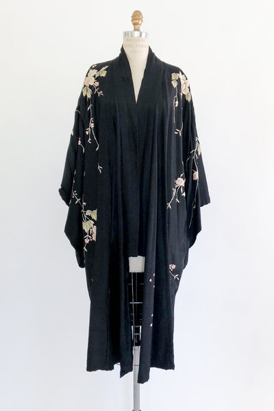 Antique Black Silk Kimono with Ombre Flowers - One Size