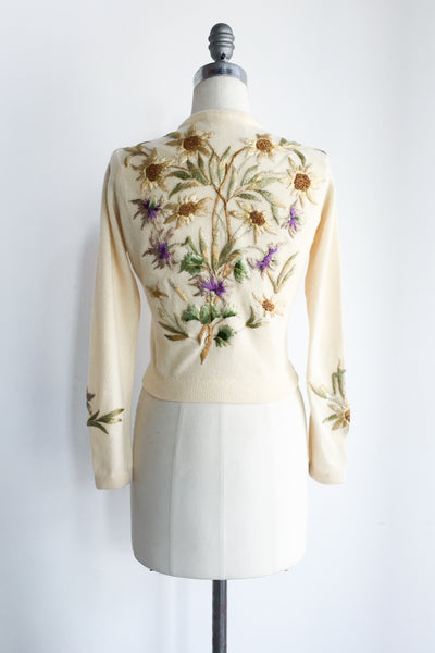 RARE 1950s Cashmere Embroidered Cardigan - S/M