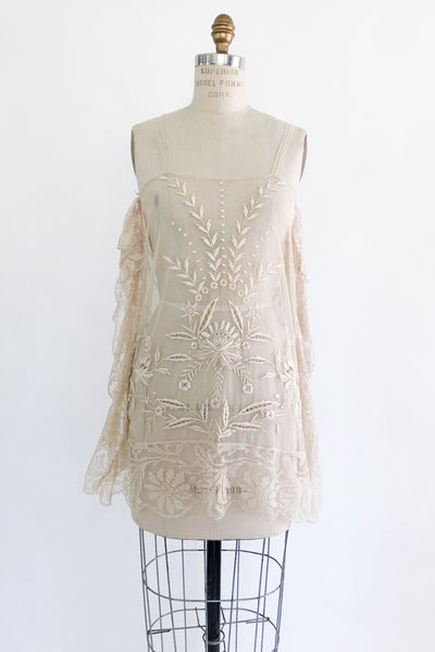 1920s Antique French Knot Lace Tunic - S/M