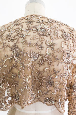 1980s Ecru Lace Beaded Jacket - M