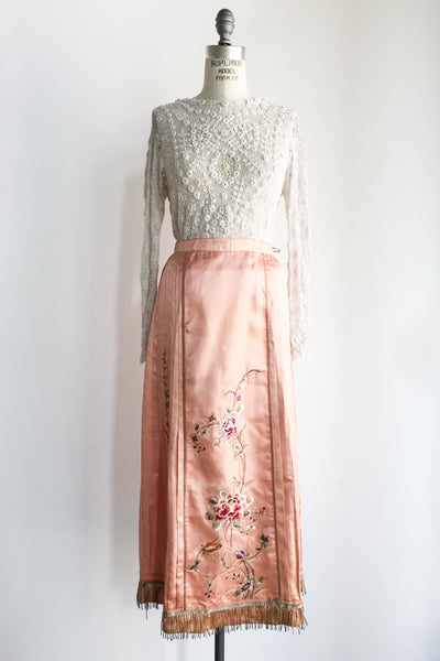 Antique Peach Silk Skirt with Embroidered Appliques - S