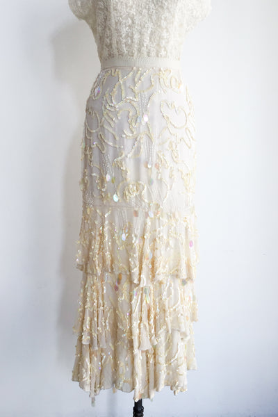 1980s Silk Beaded Skirt - M
