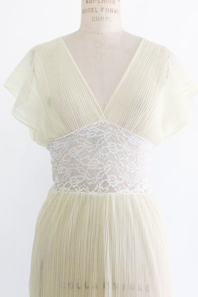 1960s Butter Yellow Sheer Chiffon Pleated Slip - S