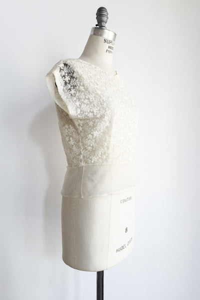 1950s Sheer Embroidered Top - M/L