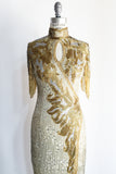 1980s Gold and Silver Fringed Sleeve Gown - S/M
