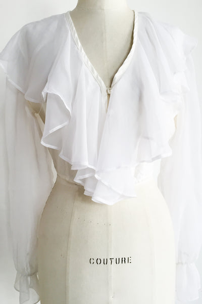 Vintage White Acetate and Chiffon Ruffled Top - S/M