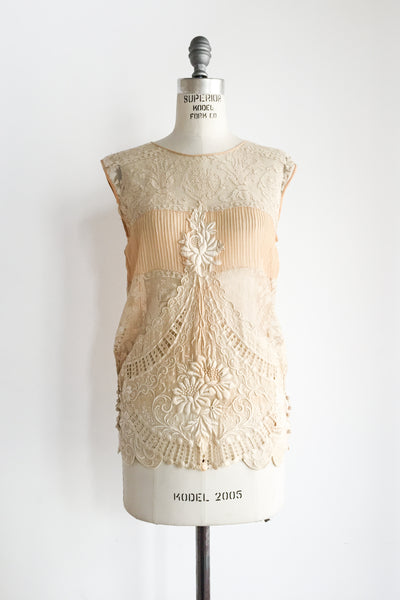 1920s Ecru Silk Chiffon Top with Detailed Embroidery - S/M