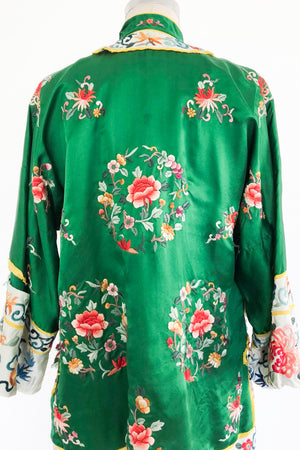 Vintage Silk Green Embroidered Jacket - M