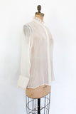 Silk Chiffon Sheer High Neck Blouse - S/M