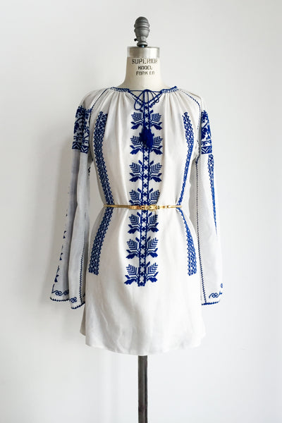 1970s Embroidered Tunic/Mini Dress - S/M