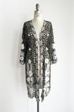 1960s Black and White Cutout Lace Jacket/Duster - M