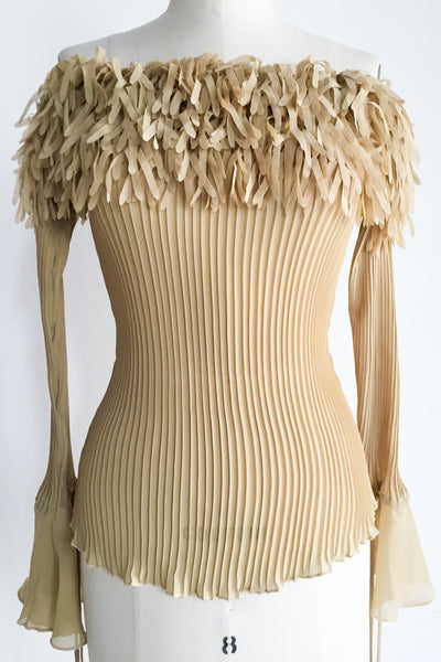 1980s Beige Pleated Ruffled Top - S/M