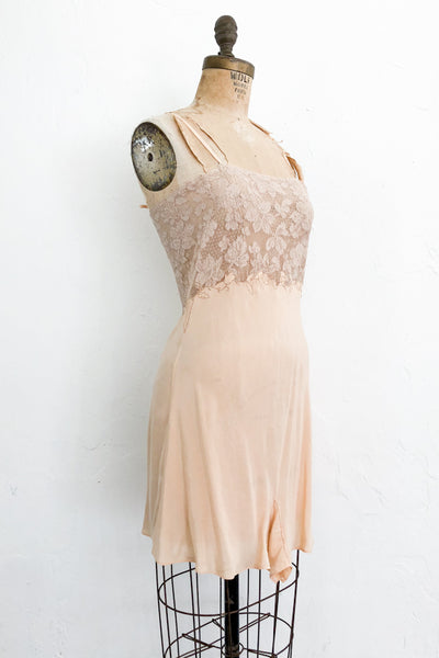 1920s Flapper Silk Peach and Lace Romper - S/M