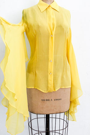 1980s Yellow Butterfly Sleeves Silk Chiffon Blouse - S/M
