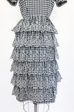1950s Gingham Tiered Dress - S