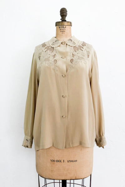 Vintage Olive Silk Embroidered Cutout Top - S/M