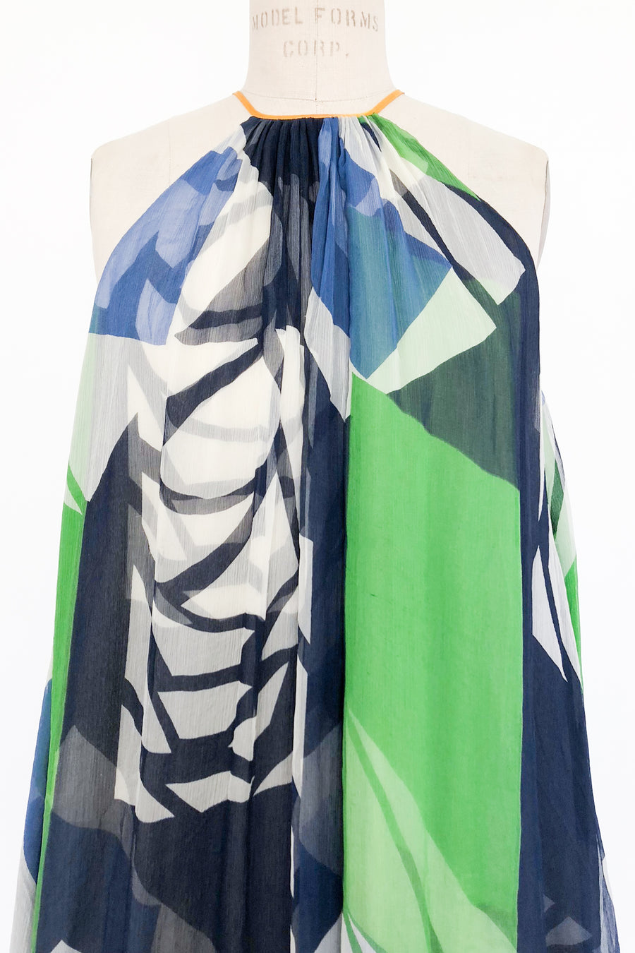 Abstract Blue and Green Floral Halter Dress - S/M