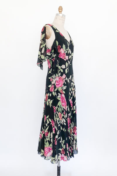 1980s Silk Floral Print Beaded Gown - M
