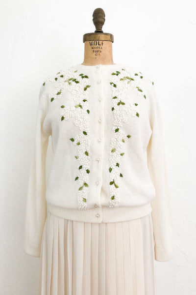 1950/60s White Floral Embroidered Cardigan - M