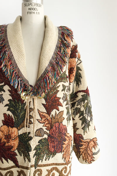 1970s Knitted Tapestry Coat - M/L