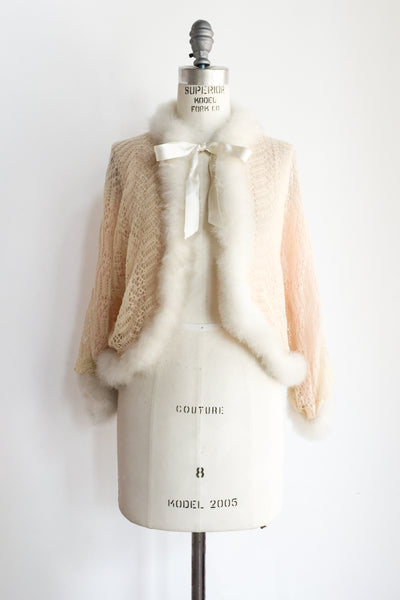 1940s Light Pink Down Feather Wool/Silk Jacket - S