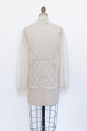 1970s Lace High Neck Top - S/M