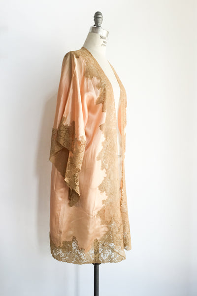 RARE Peach Silk Dressing Gown - One Size