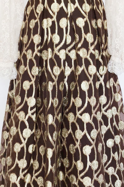 Vintage Chocolate and Gold Chiffon Skirt - M