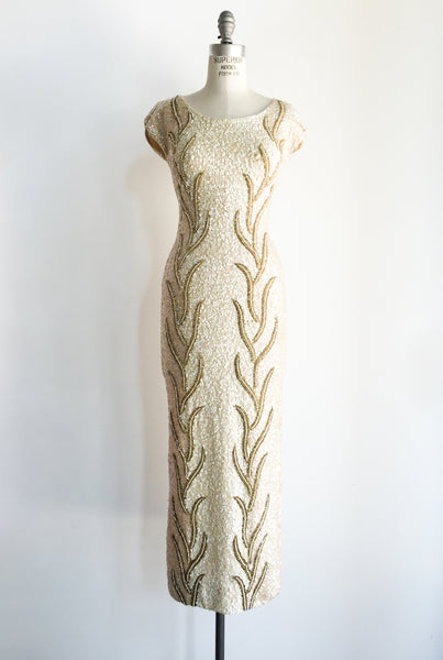 1950s Ivory Wool Beaded Wiggle Dress - S/M